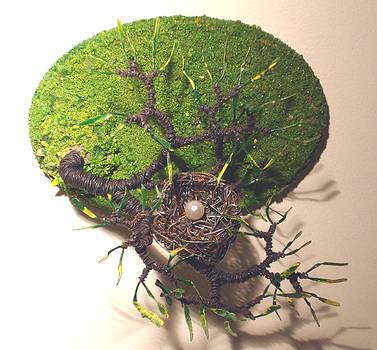 Bird Nest  6 Wall Art Wire Sculpture by Sal Villano