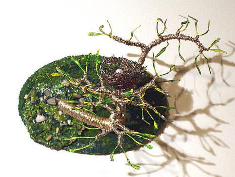 Bird Nest  7   Wall Art  Wire Sculpture by Sal Villano