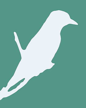 Ramona Johnston - Bird Silhouette Aqua White