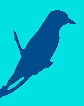 Ramona Johnston - Bird Silhouette Turquoise Blue