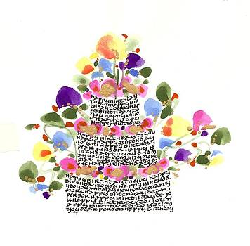 Birthday Cake With Flowers And Words by Darlene Flood