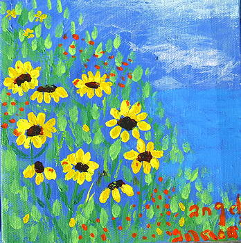 Black Eyed Susans on a Hill by Angela Annas