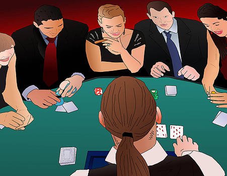 Blackjack Table at Casino by Casino Artist