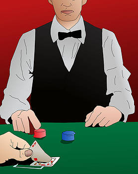 Blackjack winning hand by Casino Artist
