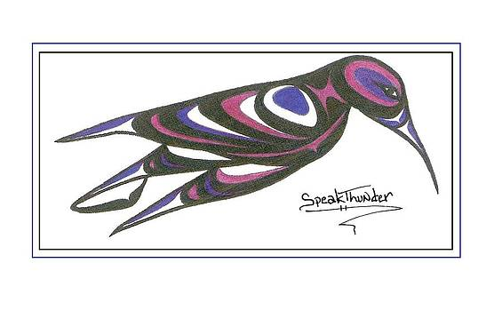 Blue and Purple Humming Bird by Speakthunder Berry