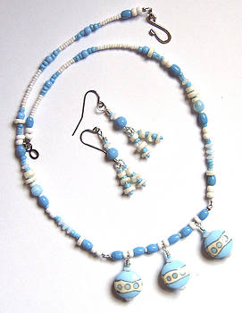 Blue and White Dot Necklace by Elizabeth Carrozza