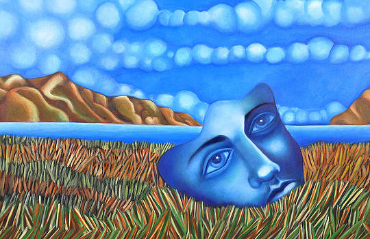Blue Dream Face on Lake by Angela Waye