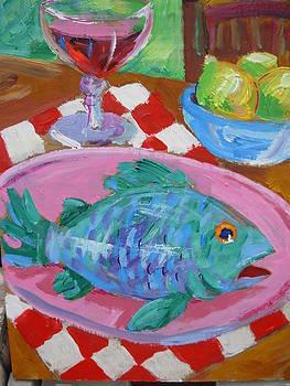 Blue Fish Pink Plate by Thomas OMara