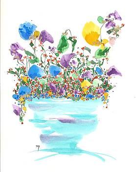 Blue Flowers And Vase by Darlene Flood