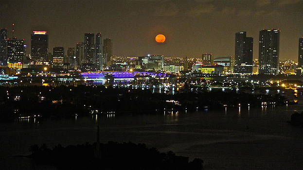 Blue moon over Miami by Ronald  Bell