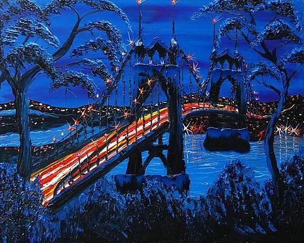 Blue Night Of St. Johns Bridge 8 by Portland Art Creations