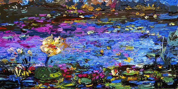 Ginette Fine Art LLC Ginette Callaway - Blue Pond Modern Impressionist Painting by Gin