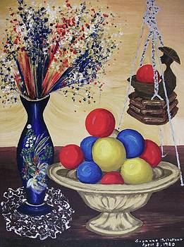 Suzanne  Marie Leclair - Blue Vase and Gold Bowl