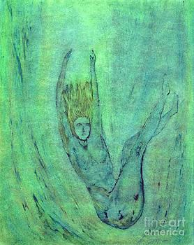 Blue Woman Falling by Linda May Jones