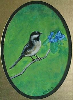 Blueberry Chickadee by Maria Elena Gonzalez