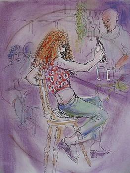 Boardwalk cafe scene by Walter Clark