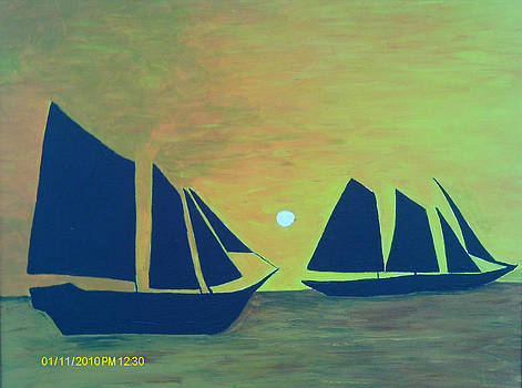 Boats at Sea by Juliet Nidhan