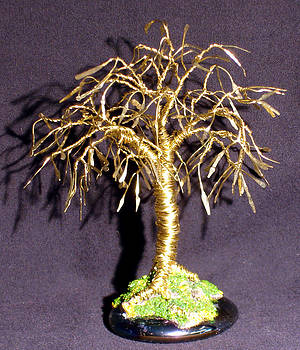 Bonsai with Leaves  Mini Wire Tree Sculpture by Sal Villano