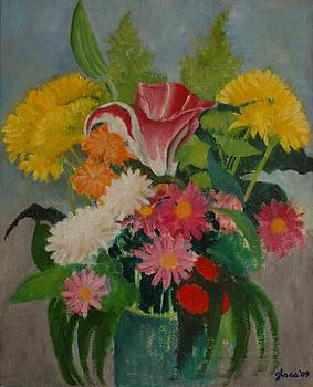 Bouquet in a Green Vase by Lester Glass