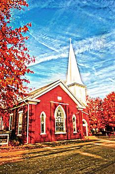 Randall Branham - brick church with tall steeple