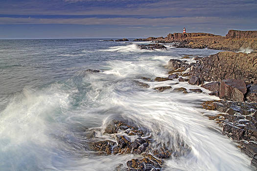 Brier Island coast and Western light lighthouse Bay of Fundy Nov by Scott Leslie