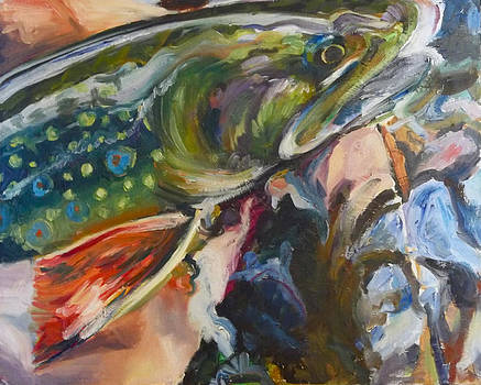 Brook Trout in Hand by Michelle Grove