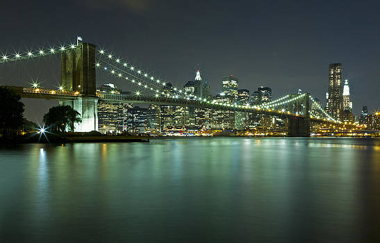 Brooklyn Bridge at Night 8 by Val Black Russian Tourchin