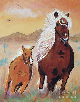 Brown Horse and Baby by Suzanne  Marie Leclair