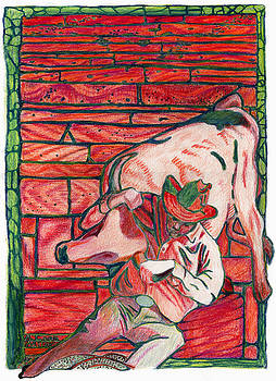 Bull Dogging by A Leon Miler