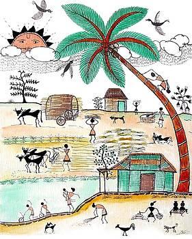 Busy Warli day by Anjali Vaidya