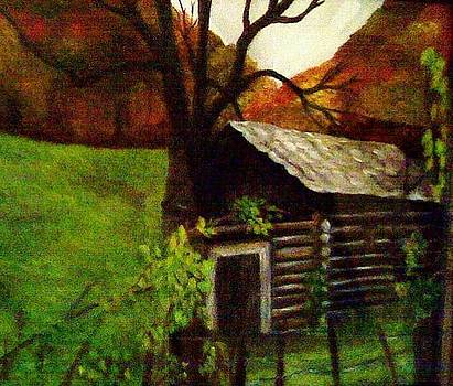 Cabin by a Hillside by Christy Saunders Church