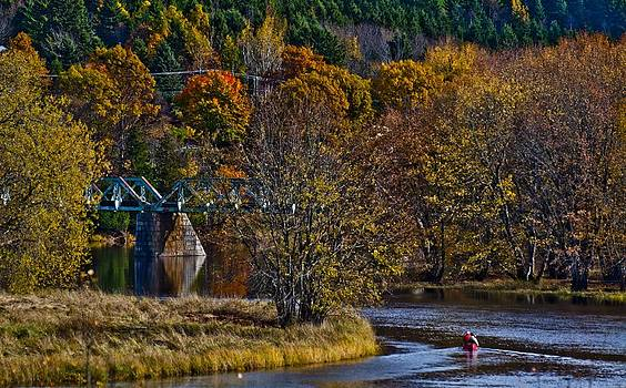 Canoer on the River in Autumn by Roger Lewis