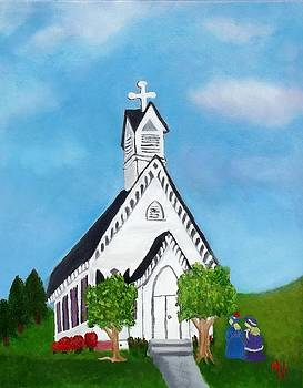 Carpenter Gothic Church in Louisiana by Margaret Harmon