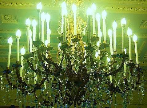 Chandelier Glowing Green by Nancy Mitchell