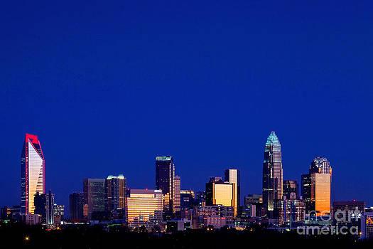 Charlotte NC cobalt skyline by Patrick Schneider