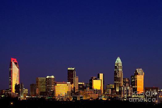 Charlotte NC skyline at sunrise by Patrick Schneider
