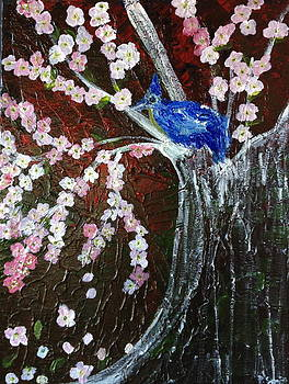 Cherry Blossom And Blue Bird  by Pretchill Smith