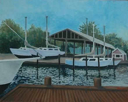 Chesapeake Bay Boatyard by Lester Glass