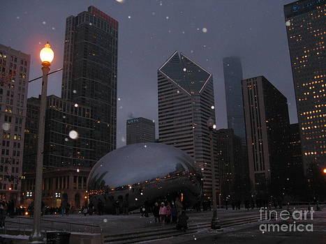 Chicago Cloud Gate at Night by Ausra Huntington nee Paulauskaite