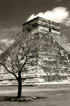Chichen Itza Blk and White by Chris Brannen