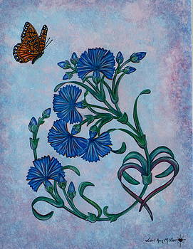 Chicory Flowers and Heart by Lori Miller