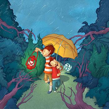 Children On Nocturnal Forest by Autogiro Illustration