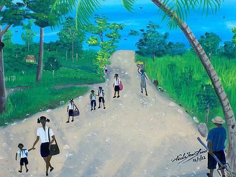 Children Walking to School by Nicole Jean-Louis