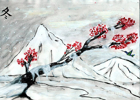 Chinese Brush Paint Winter by Shashi Kumar