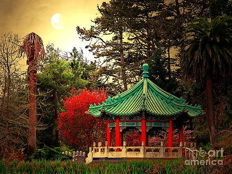 Wingsdomain Art and Photography - Chinese Pavilion Under Golden Moonlight