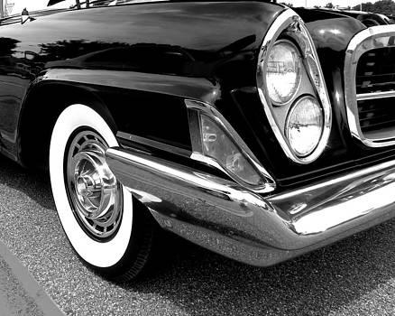Chrysler 300 Headlight in Black and White by Sarah Egan