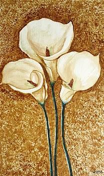 Coffee Painting - Flowers by Rejeena Niaz