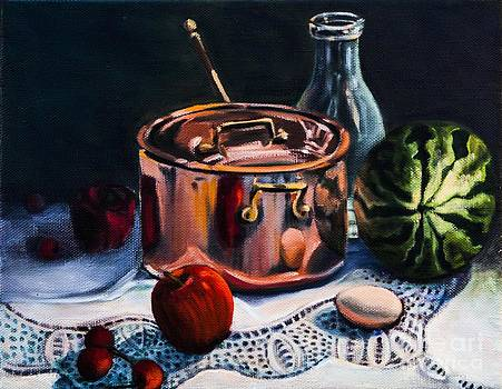 Copper Pot with Fruit by Patricia Reed