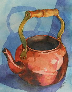 Donna Pierce-Clark - Copper Teapot on Blue