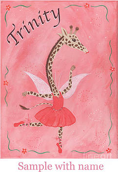 Custom Name Child's Giraffe Ballerina by Kristi L Randall